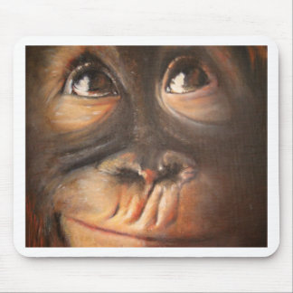 Monkey Oil Painting Funny Face Kerra Lindsey Mouse Pad