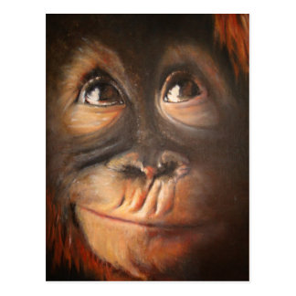 Monkey Oil Painting Funny Face Kerra Lindsey Postcard