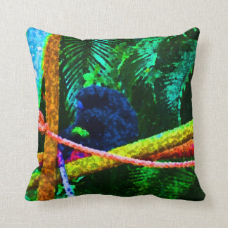 monkey on branch colorful blots throw pillow