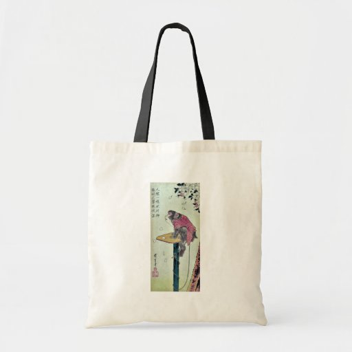 Monkey on cherry blossoms by Ando,Hiroshige Tote Bags