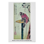 Monkey on cherry blossoms by Ando,Hiroshige Posters
