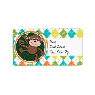 Monkey on Colorful Argyle Pattern Personalized Address Label