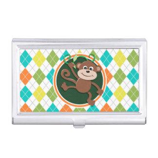 Monkey on Colorful Argyle Pattern Business Card Case