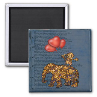 Monkey On Elephants Back Heart Balloons 2 Inch Square Magnet