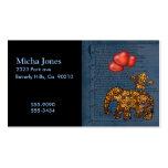 Monkey On Elephants Back Heart Balloons Business Cards