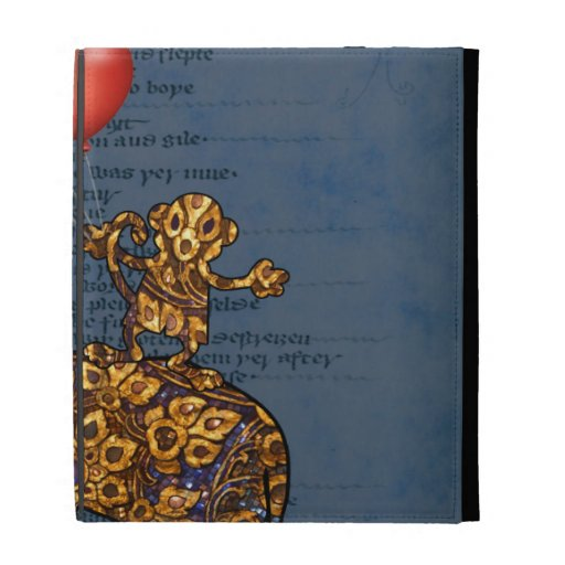 Monkey On Elephants Back Heart Balloons iPad Folio Covers