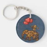 Monkey On Elephants Back Heart Balloons Double-Sided Round Acrylic Keychain