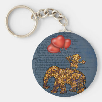Monkey On Elephants Back Heart Balloons Keychain