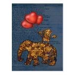 Monkey On Elephants Back Heart Balloons Post Card