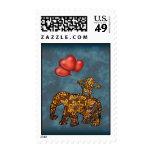Monkey On Elephants Back Heart Balloons Stamp