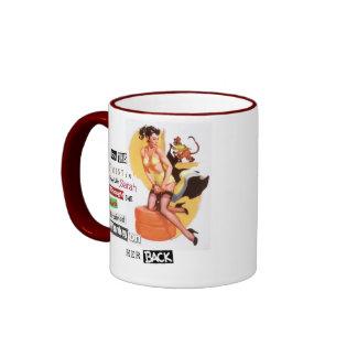 Monkey on her back ringer coffee mug