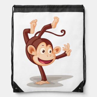 Monkey On One Hand Drawstring Backpack
