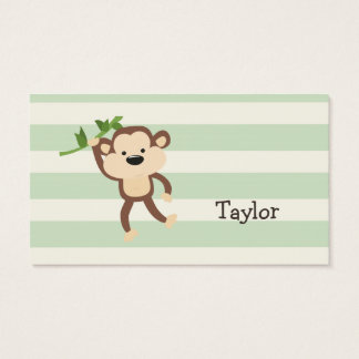 Monkey on Pastel Green Stripes Business Card