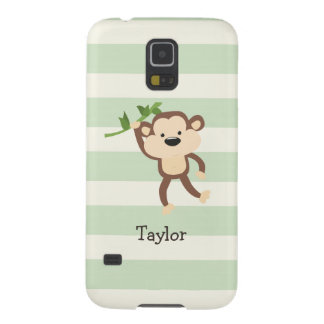Monkey on Pastel Green Stripes Case For Galaxy S5