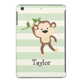 Monkey on Pastel Green Stripes iPad Mini Retina Cover
