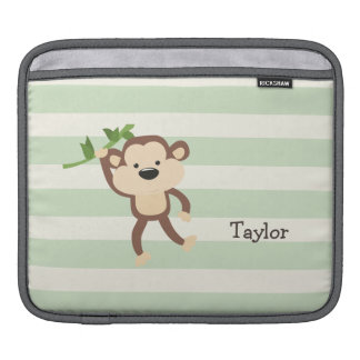 Monkey on Pastel Green Stripes Sleeves For iPads