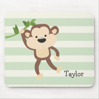 Monkey on Pastel Green Stripes Mouse Pad