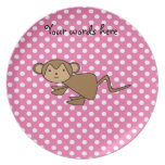 Monkey on pink polka dots dinner plate