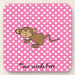 Monkey on pink polka dots drink coaster
