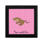 Monkey on pink polka dots jewelry boxes