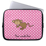 Monkey on pink polka dots laptop computer sleeves