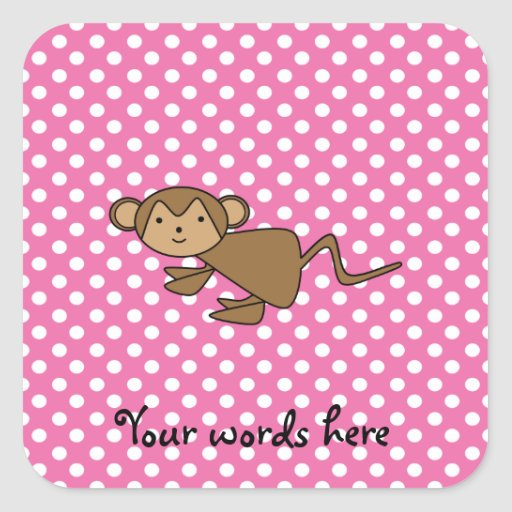 Monkey on pink polka dots square stickers