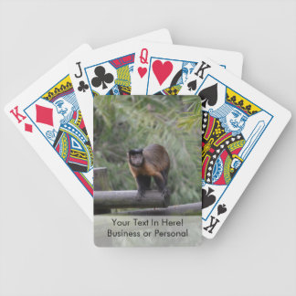monkey on railing sad primate bicycle playing cards