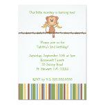 Monkey on vine 2nd birthday party invitation CUTE