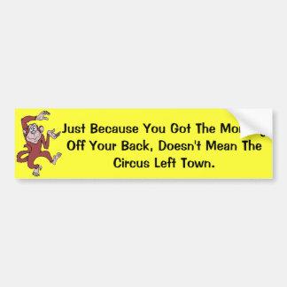 Monkey on Your Back Car Bumper Sticker