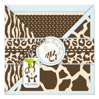 Monkey & Pacifier Safari Animal Print Baby Shower Custom Announcements
