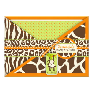 Monkey Pacifier Safari Animal Print Baby Shower Personalized Invites