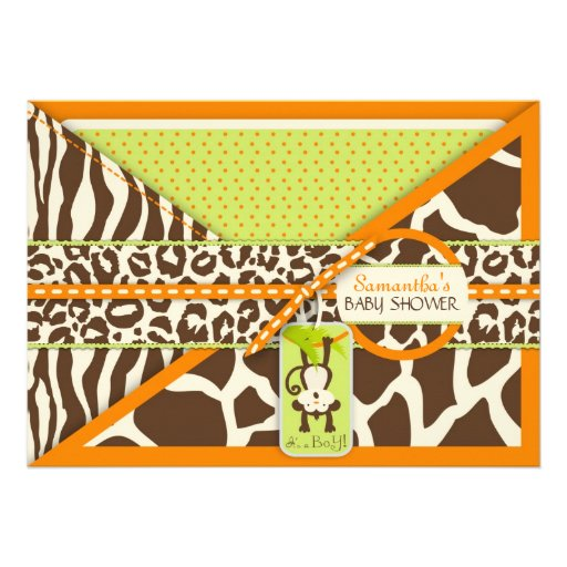 Monkey & Pacifier Safari Animal Print Baby Shower Personalized Invites