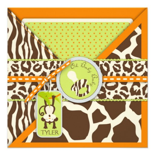 Monkey & Pacifier Safari Animal Print Baby Shower Custom Announcements