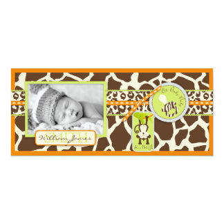 Monkey & Pacifier Safari Print Birth Announcement