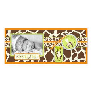 "Monkey & Pacifier Safari Print Birth Announcement 4"" X 9.25"" Invitation Card"