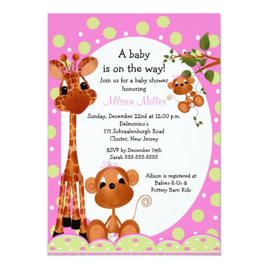 Monkey & Pals Girl Baby Shower Card