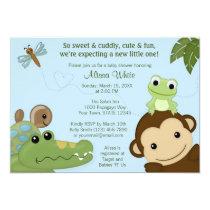 MONKEY Papagayo Baby Shower invitation blue PML-B