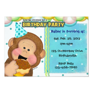 Monkey Party 5x7 Paper Invitation Card