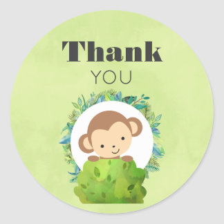 Monkey Peeking Out from Behind a Bush Thank You Classic Round Sticker