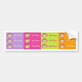 Monkey Personalized Kids name Waterproof Labels