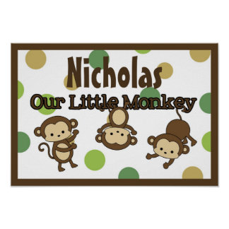 Monkey Personalized Name Wall Art mod pod pop Posters