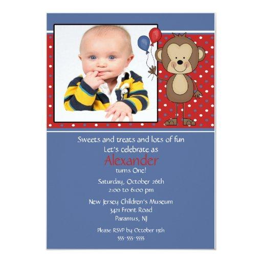 Monkey Photo Birthday Invitation
