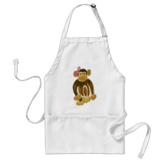 Monkey Pink Bow Adult Apron