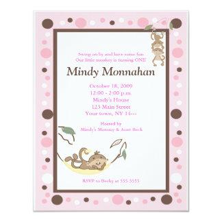 Monkey Pink Brown Girly Trendy Birthday 4.25 x 5.5 Card