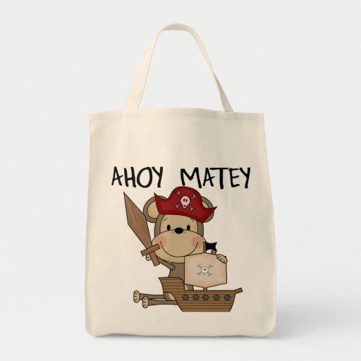 Monkey Pirate Ahoy Matey t-shirts and Gifts Tote Bag