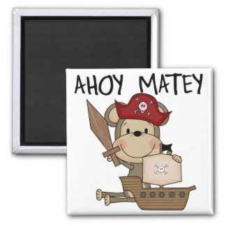 Monkey Pirate Ahoy Matey t-shirts and Gifts 2 Inch Square Magnet