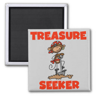 Monkey Pirate Treasure Seeker Tshirts and Gifts 2 Inch Square Magnet