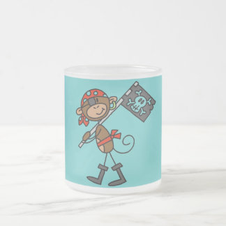 Monkey Pirate With Flag Tshirts and Gifts Frosted Glass Coffee Mug