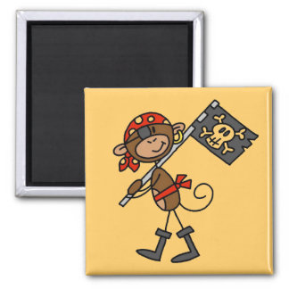 Monkey Pirate With Flag Tshirts and Gifts 2 Inch Square Magnet