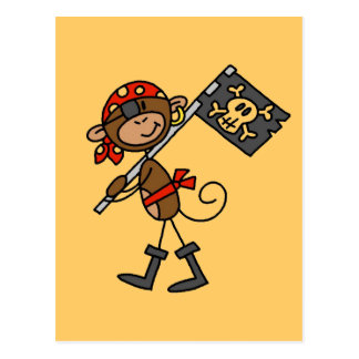 Monkey Pirate With Flag Tshirts and Gifts Postcard